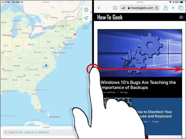 Verwerfen der geteilten Ansicht auf dem iPad Schritt 1