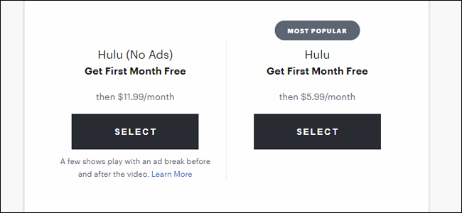 Die Hulu-Anmeldeseite mit ihren schönen, niedrigen Preisen.