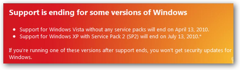 Der Support für einige Windows-Versionen endet
