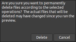 Das Dialogfeld zur Bestätigung des Löschens der Datei in BleachBit.