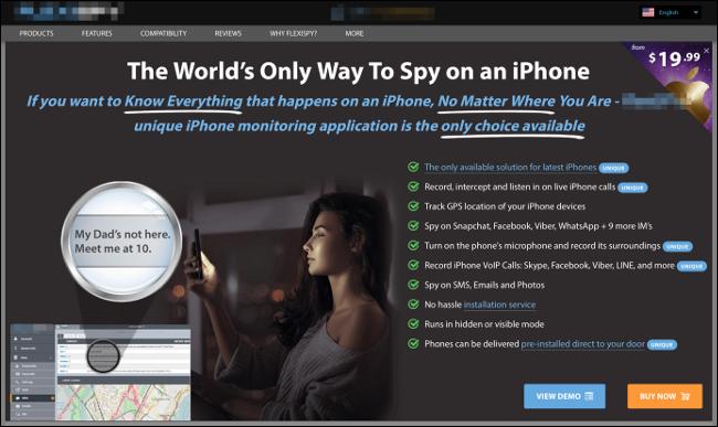 Eine Anzeige für eine iPhone-Spionagesoftware.