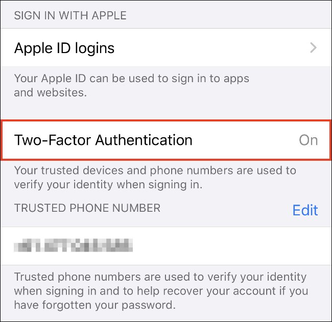 """Zapfhahn """"Aktivieren Sie die Zwei-Faktor-Authentifizierung"""" auf dem iPhone."""