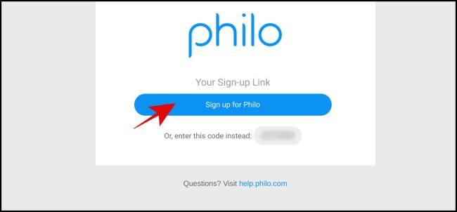 """Klicken """"Melden Sie sich für Philo an."""""""