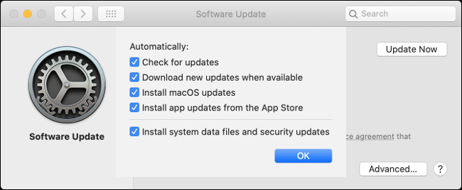 """Die """"Software-Aktualisierung"""" Einstellungen auf dem Mac."""
