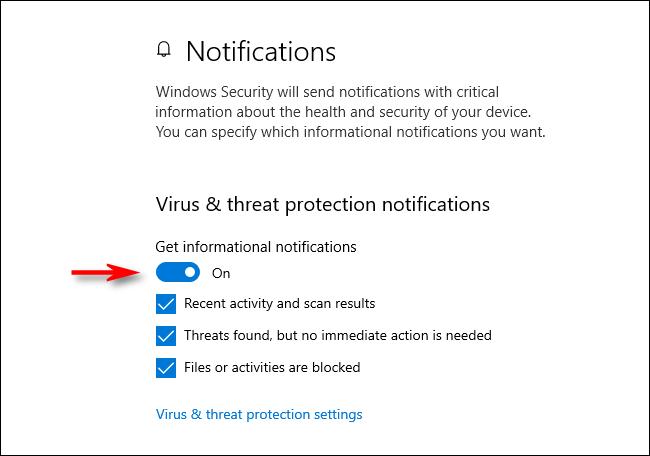Benachrichtigungen zum Viren- und Bedrohungsschutz in Windows 10