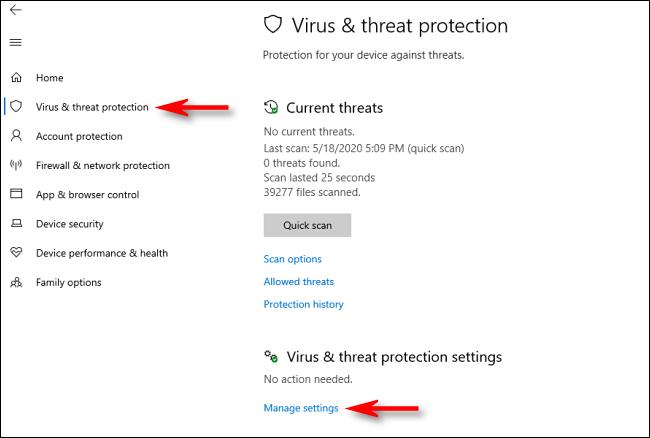 Klicken Sie in der Windows-Sicherheit unter Windows 10 auf Einstellungen verwalten