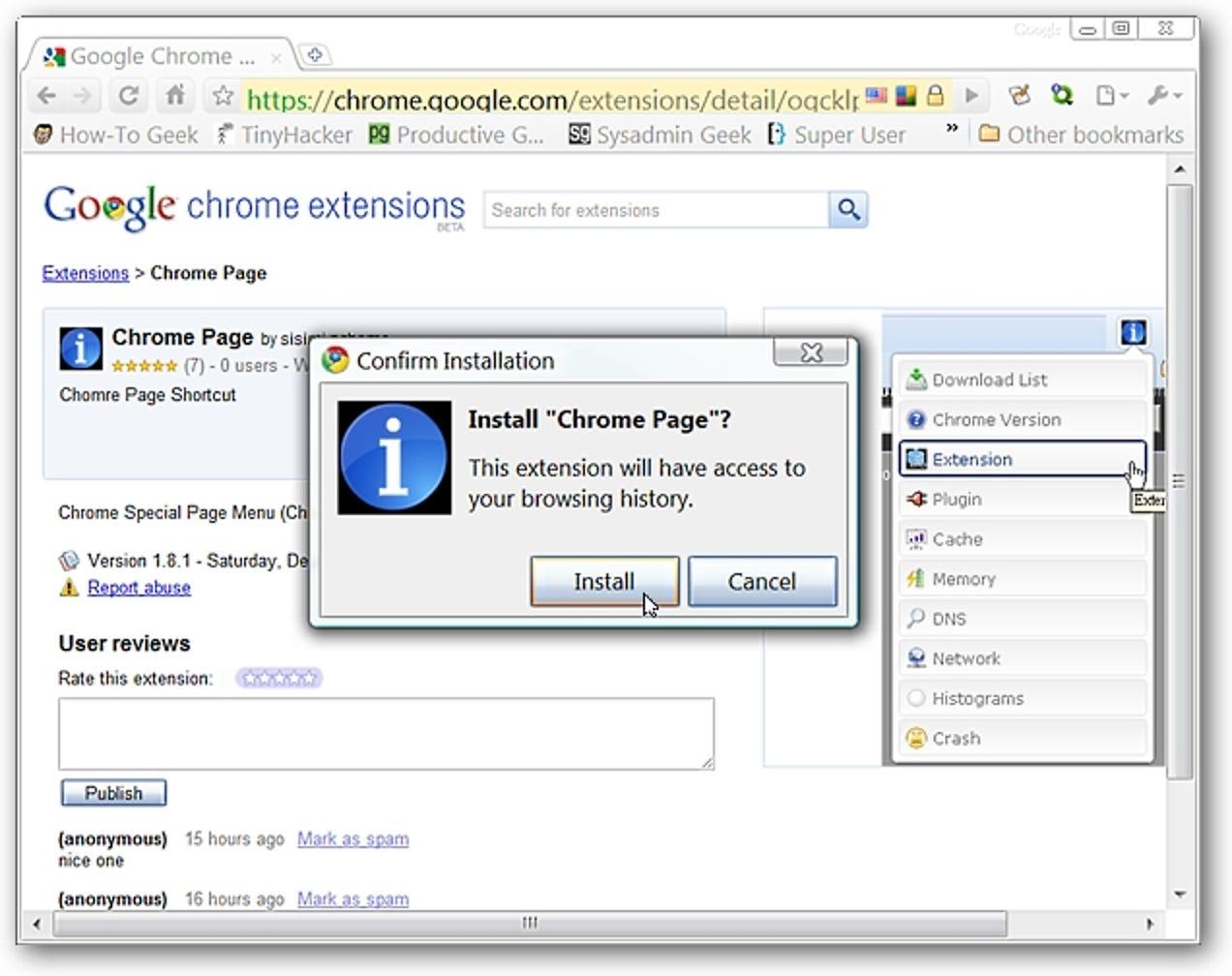 Greifen Sie ganz einfach auf die Sonderseiten von Google Chrome zu