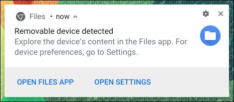 Chromebook-USB-Laufwerk erkannt Meldung