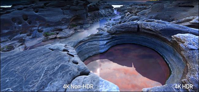 Eine felsige Küstenszene, die den Farbunterschied zwischen 4K-Nicht-HDR und 4K-HDR zeigt.