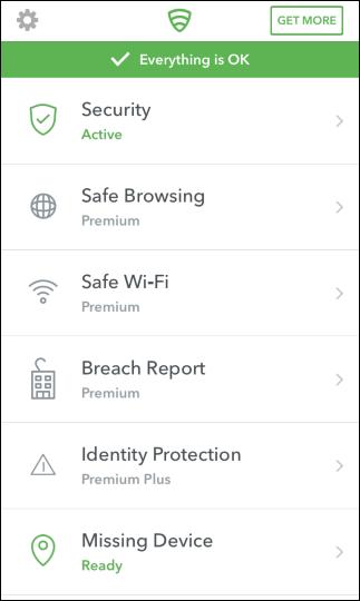 Hauptbildschirm der Lookout-App auf dem iPhone