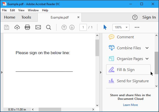 """Öffnen Sie den Adobe Acrobat Reader und klicken Sie auf """"Ausfüllen und unterschreiben"""" Taste"""