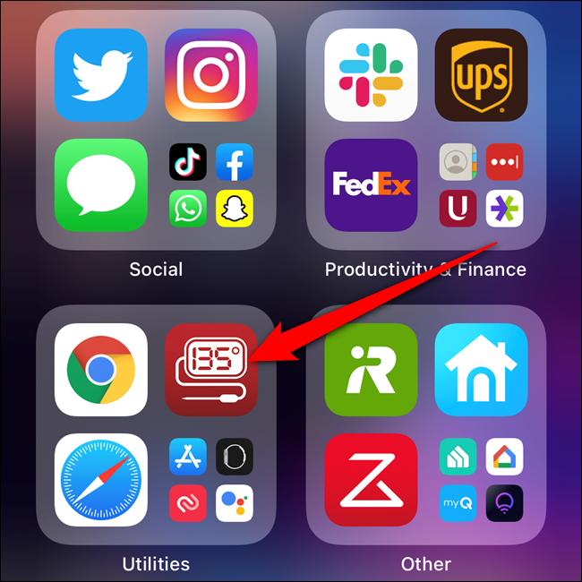 Halten Sie eine App in der App-Bibliothek gedrückt