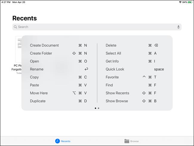 Popup-Popup für die Befehlstastenkombination für Dateien auf dem iPad