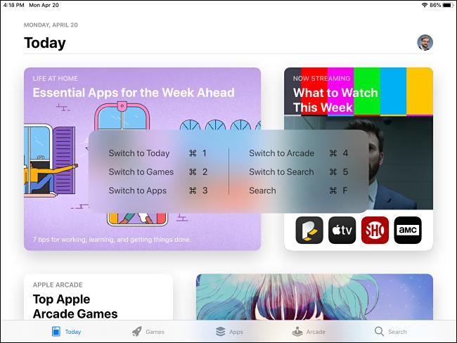 Pop-up für App Store-Befehls-Tastaturkürzel auf dem iPad