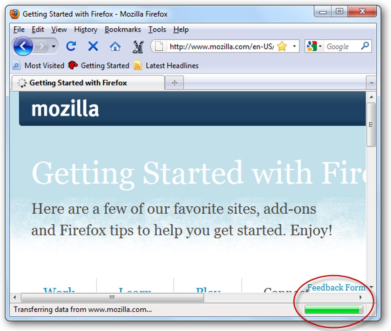 Verschieben Sie den Fortschrittsbalken in die Registerkarten in Firefox