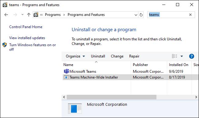 Entfernen von Microsoft Teams über die Systemsteuerung.