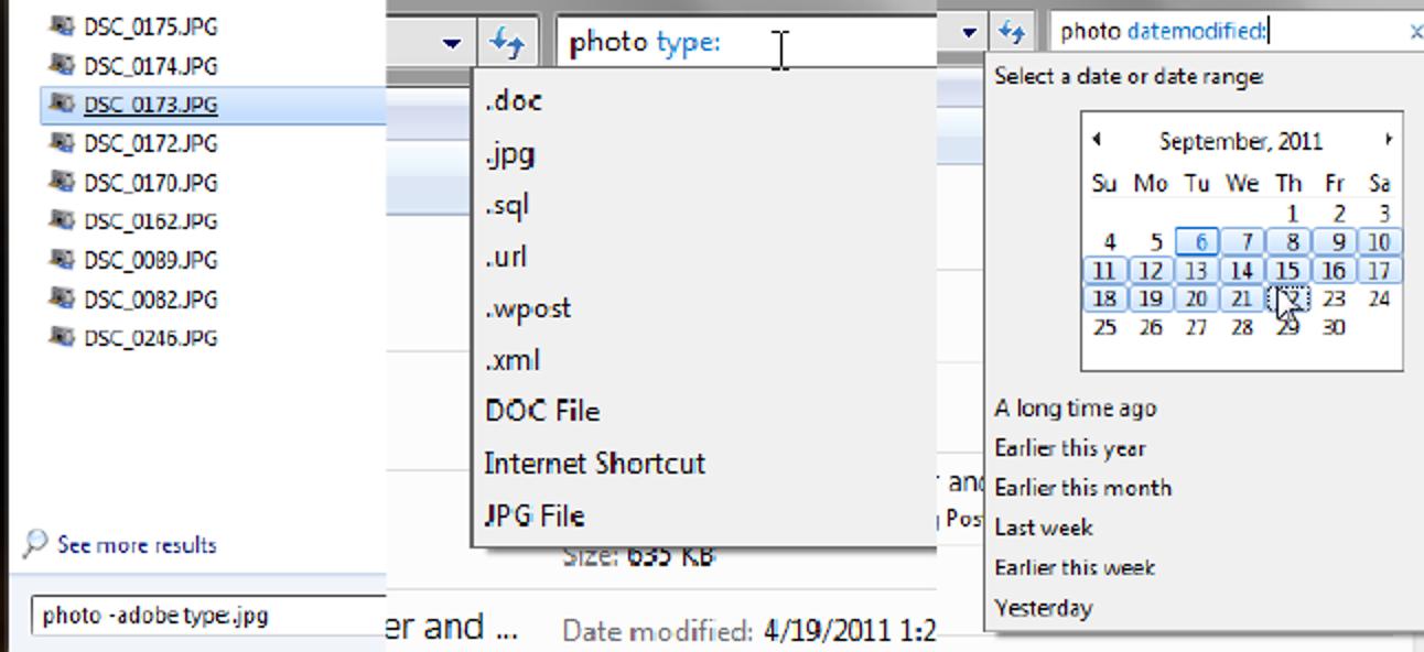 Erfahren Sie, wie Sie die erweiterten Suchoperatoren von Windows 7 verwenden