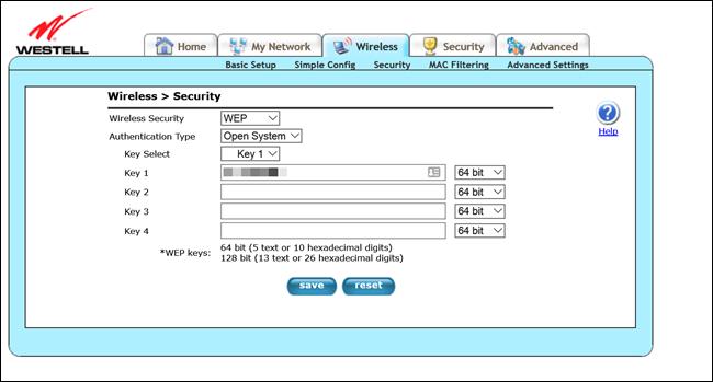 Westell Router-Admin-Seite mit den WEP-Verschlüsselungseinstellungen.