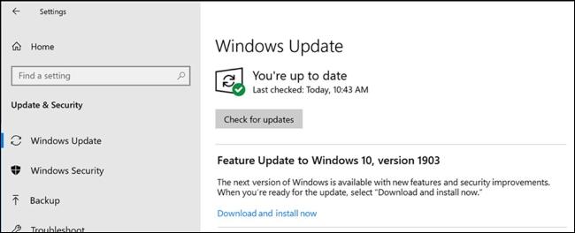 Wahl zum Installieren eines Funktionsupdates in Windows Update
