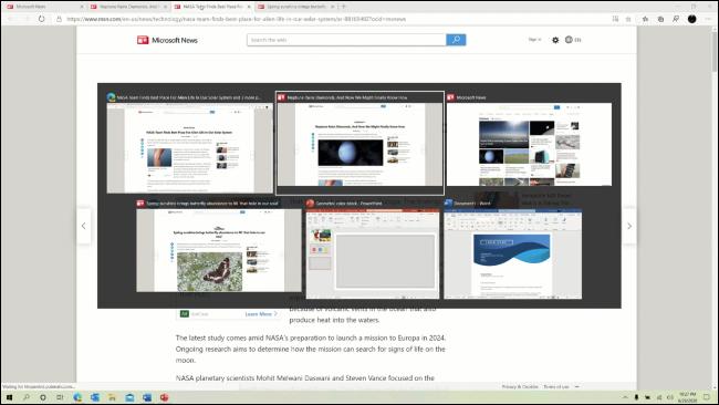 Edge-Browser-Tabs, die im Alt+Tab-Umschalter angezeigt werden.
