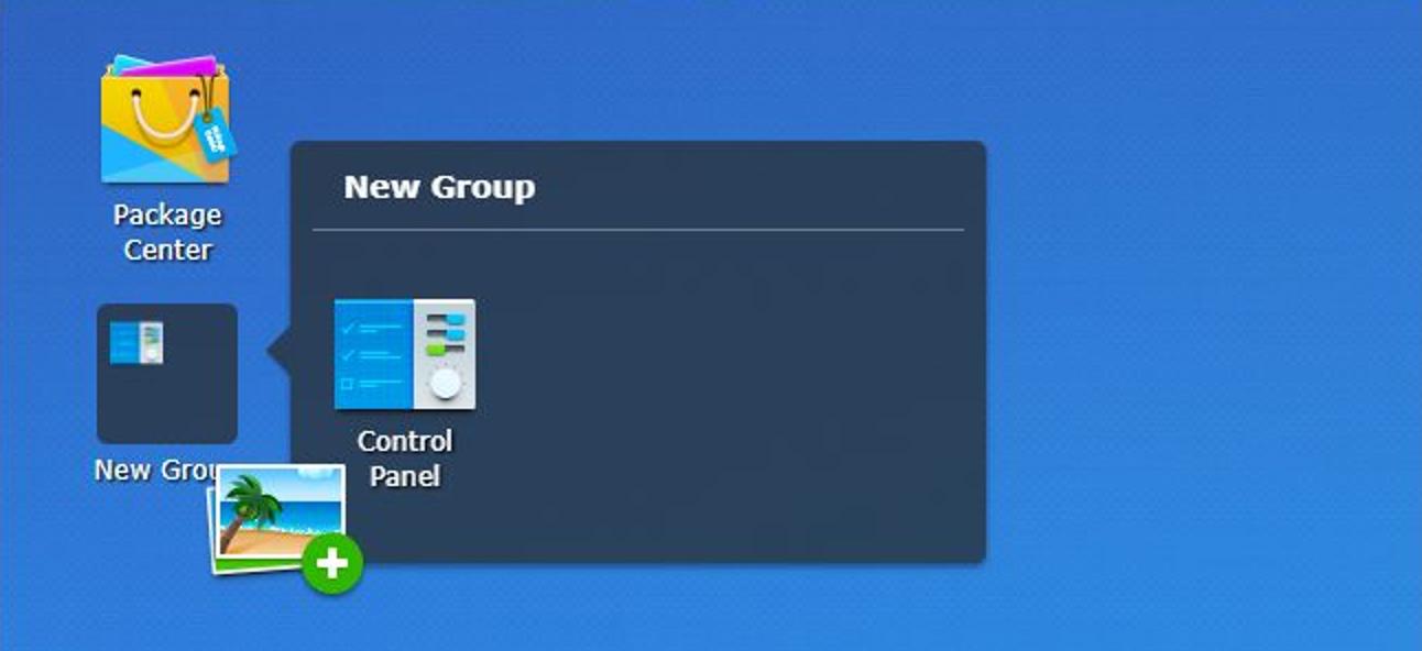 Erstellen, Neuanordnen, Organisieren und Entfernen von Verknüpfungen auf Ihrem Synology NAS-Desktop