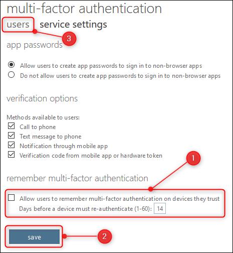 """Die """"Serviceeinstellungen"""" Optionen und die """"Benutzer"""" Tab"""