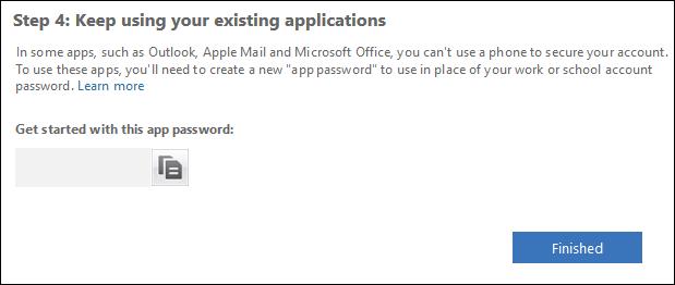 Das Textfeld für das App-Passwort und die Schaltfläche Fertig