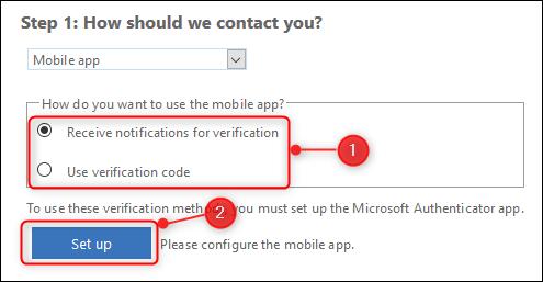 Optionsfelder zur Auswahl der Kontaktmethode