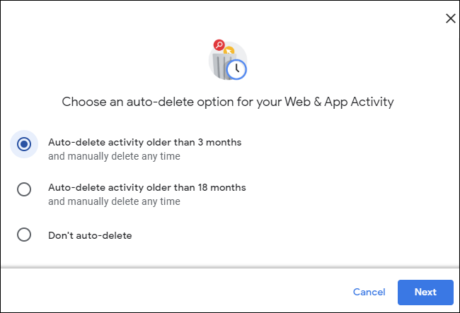 Aktivitäten in einem Google-Konto, die älter als 3Monate sind, werden automatisch gelöscht.