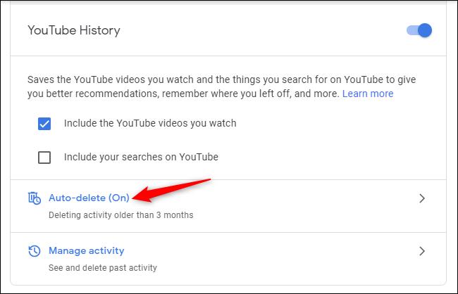 Steuerelemente zum automatischen Löschen des YouTube-Verlaufs in einem Google-Konto.