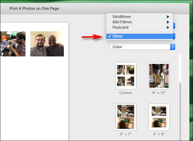 """Wählen Sie in der Foto-App auf dem Mac in den Papierformaten """"Andere"""" aus"""
