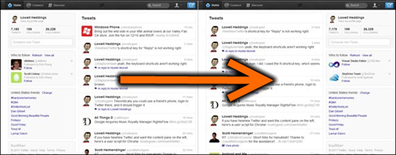 So platzieren Sie den neuen neuen Twitter-Inhaltsbereich wieder auf der linken Seite
