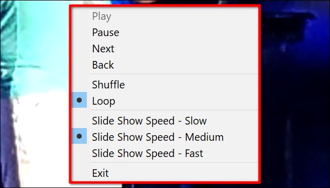 Windows 10 Diashow-Steuerelemente