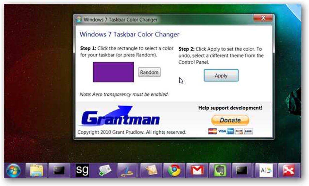 Ändern Sie die Farbe Ihrer Windows 7-Taskleiste auf einfache Weise (und drehen Sie zwischen den Farben)