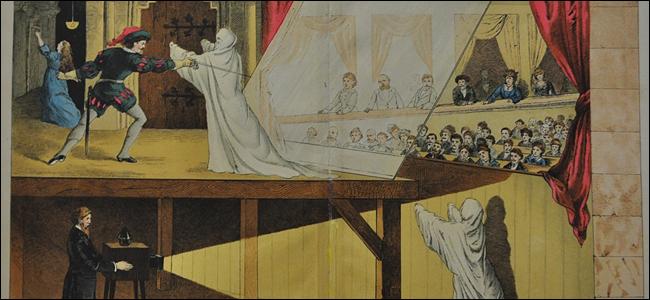 Eine alte Illustration des Pepper's Ghost-Tricks.