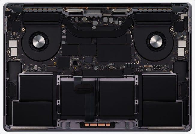 Die Hardware in einem 16-Zoll-MacBook Pro von 2020.