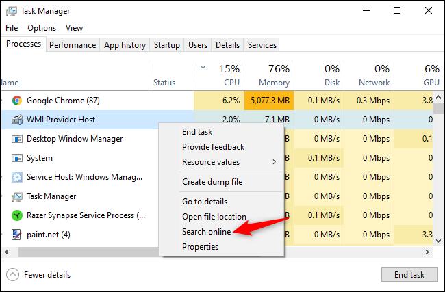 Online nach dem Namen eines Prozesses im Windows Task-Manager suchen.