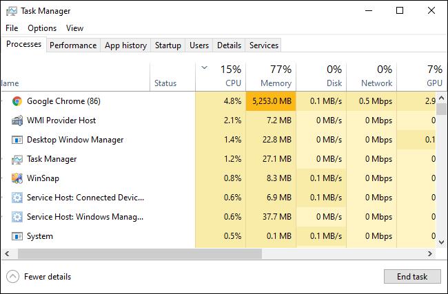 Der Task-Manager von Windows 10 zeigt laufende Prozesse an.