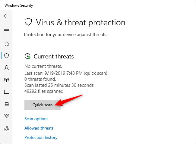 Manuelles Scannen auf Viren und andere Malware in der Windows-Sicherheit.