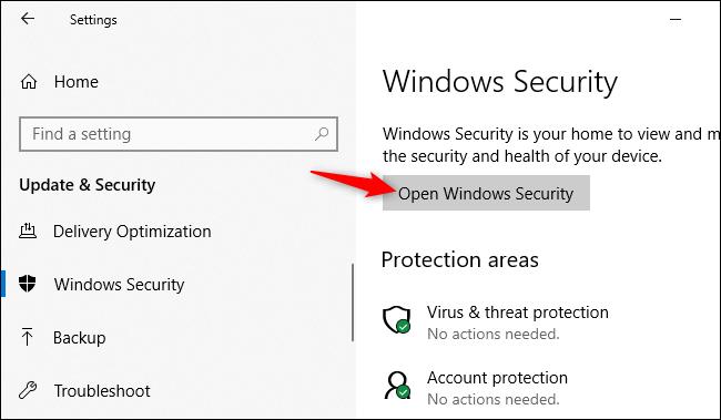Öffnen der Windows-Sicherheitsanwendung über die Einstellungen von Windows 10.