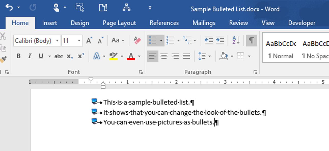 So verwenden Sie ein Bild als Aufzählungszeichen in einer Aufzählungsliste in Word