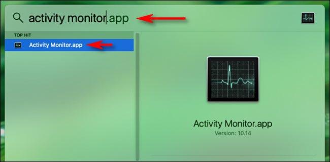 """Öffnen Sie die Spotlight-Suche auf dem Mac und geben Sie ein """"Aktivitätsmonitor"""" Drücken Sie dann die Eingabetaste."""