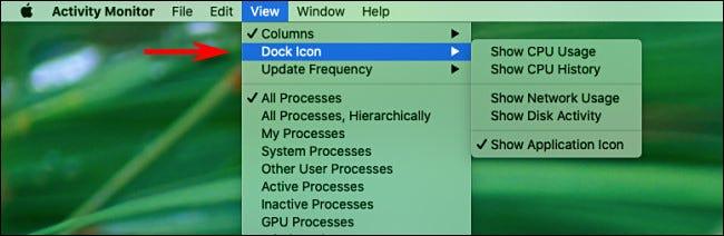 Ansichtsmenü des Mac-Aktivitätsmonitors