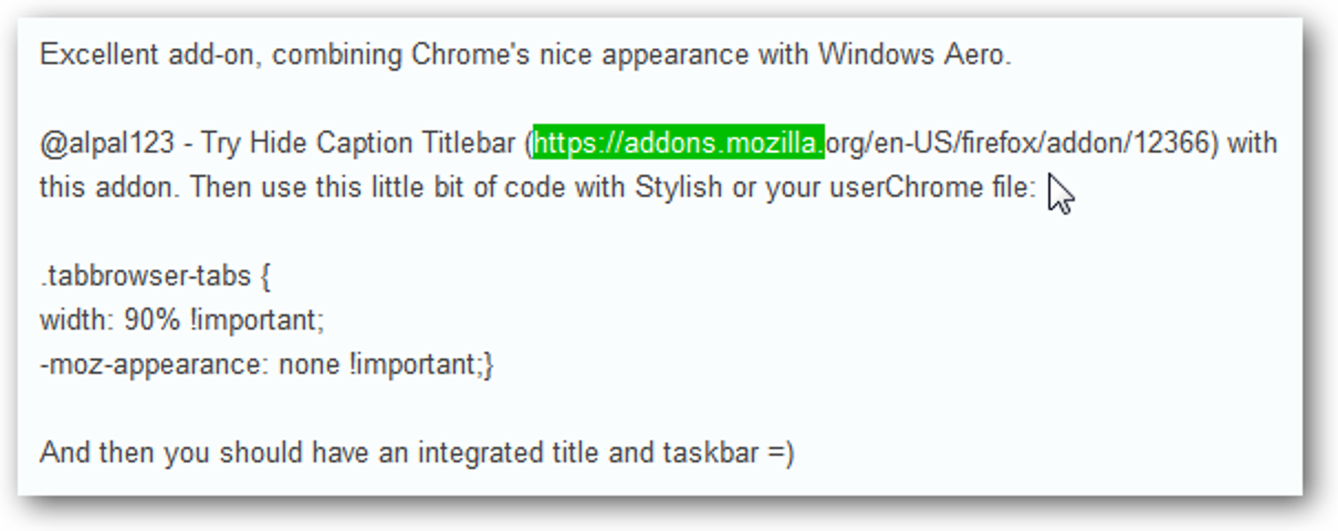 Nur Text-URL-Quick-Fix für Firefox