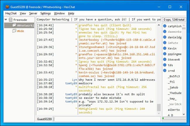 Ein IRC-Chat-Kanal in HexChat für Windows.