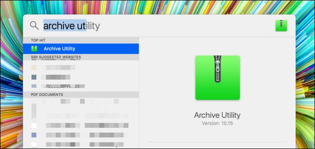 Suchen Sie in der Spotlight-Suche nach Archivdienstprogramm