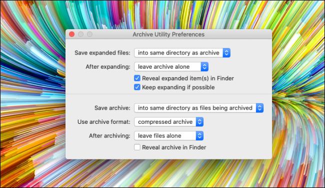 Einstellungen des Archivierungsdienstprogramms