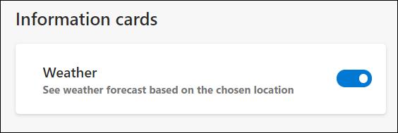 Wetterinformationskarten können unten auf der Seite umgeschaltet werden.