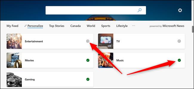 Klicken Sie auf das +-Zeichen, um ein Thema hinzuzufügen, und klicken Sie auf das grüne Häkchen, um das Thema aus Ihrer Liste zu entfernen.