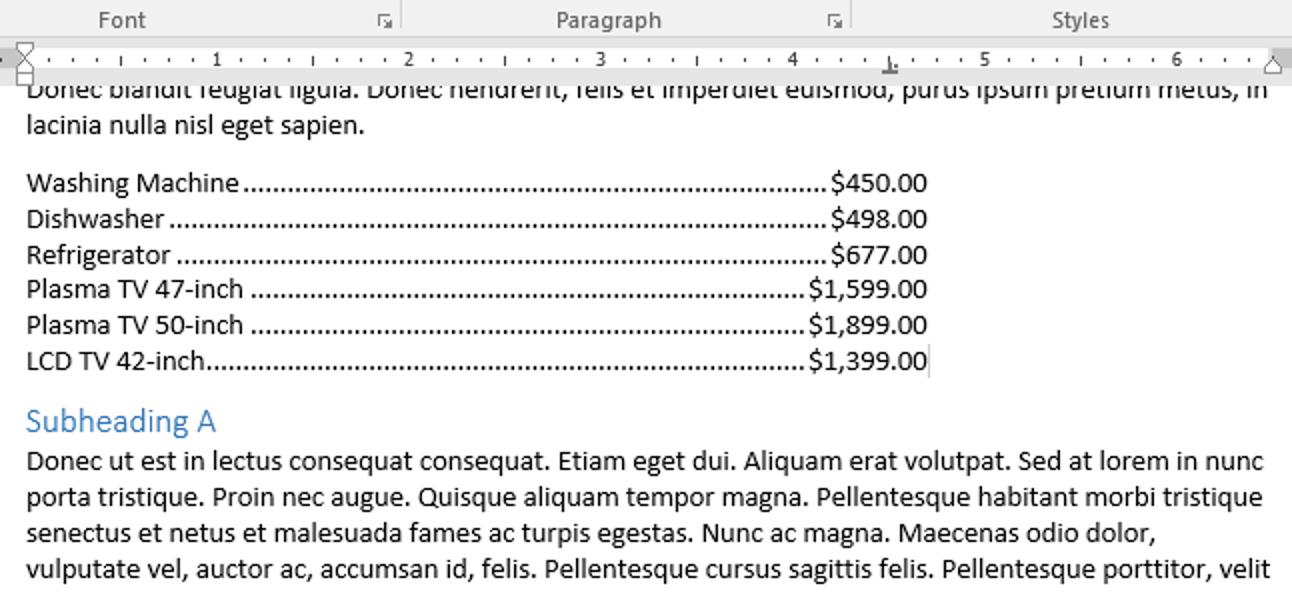 So fügen Sie einem Tabstopp in Microsoft Word einen Tabulatorführer hinzu
